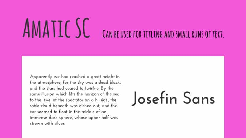 Trending Google Fonts-combinatie - Amatic SC met Josefin