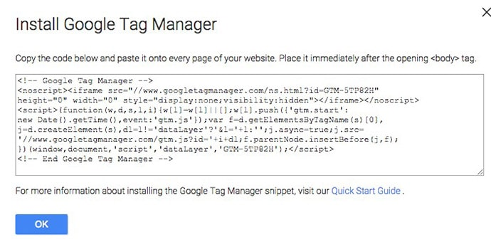 copiar o código do contêiner do Gerenciador de tags do Google